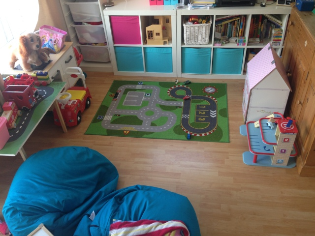 Instead of having toys scattered through the house we decided to make a play room at the far end of the house. This way, when I sit on the sofa at the end of the day I can't see the toys - this really helps with relaxation