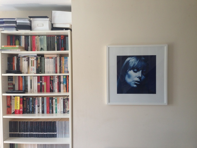 The beautiful Joni - A print from the original negative straight from the photographer (a gift from my Mum and partner Lennie) and some of Chris's books. He has this thing where we have to keep our books separate (!)