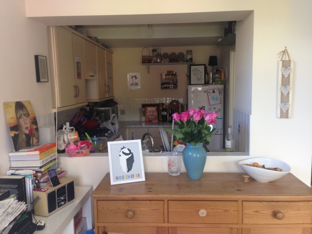 The view from the play room into the Kitchen. The playroom is an extension, so the kitchen is small and very dark